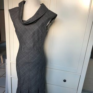 Ted Baker- elegant plaid grey dress